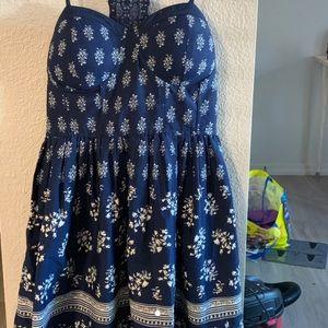 patterned blue halter top type dress